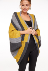 LLOVE Color block oversized sweater poncho