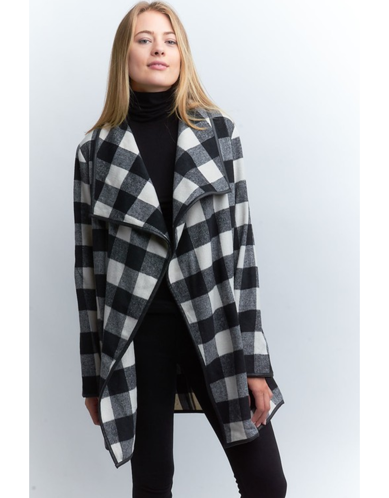 Hello Rain Buffalo plaid open drape front jacket