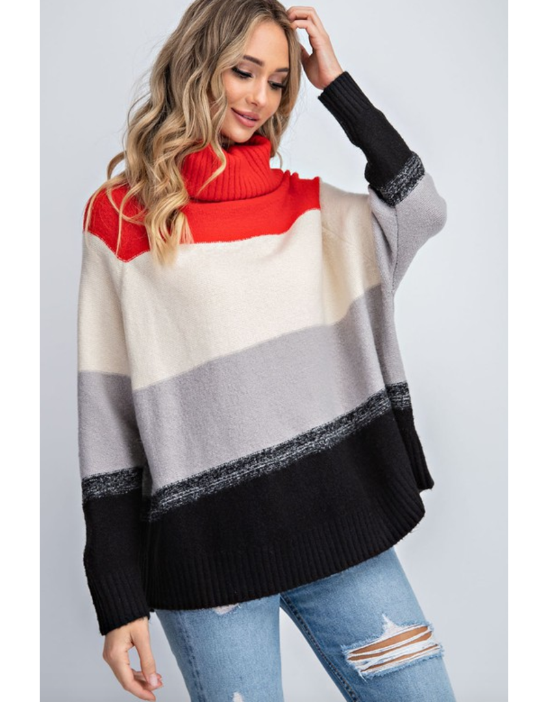 143 STORY Color block turtle neck long sleeve sweater