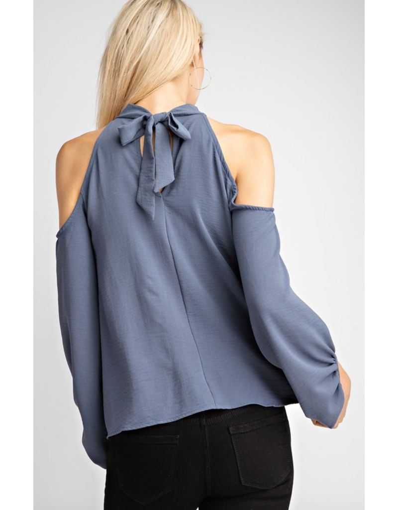 143 STORY Halter neck back tie cold shoulderbubble sleeve woven blouse