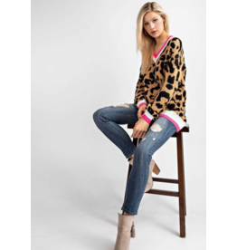 143 STORY Leopard sweater with pink detail