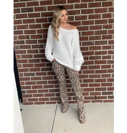 MAIN STRIP High waist leopard bootcut pants