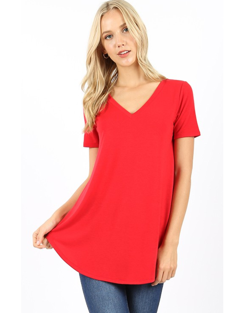 ZENANA Short sleeve v-neck hem top