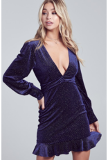 blue blush Long sleeve velvet mini dress