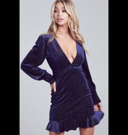 blue blush Long sleeve velvet mini dress