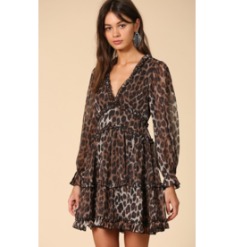 BY TOGETHER Leopard print ruffle chiffon dress
