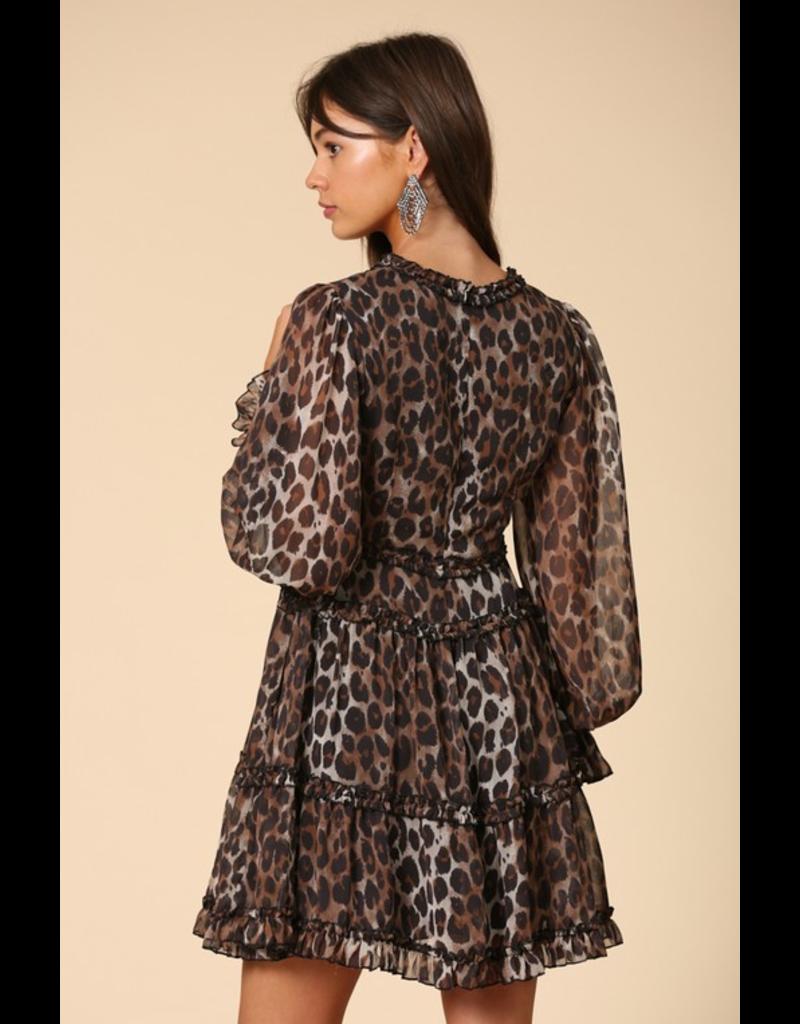 BY TOGETHER Leopard print ruffle chiffon dress
