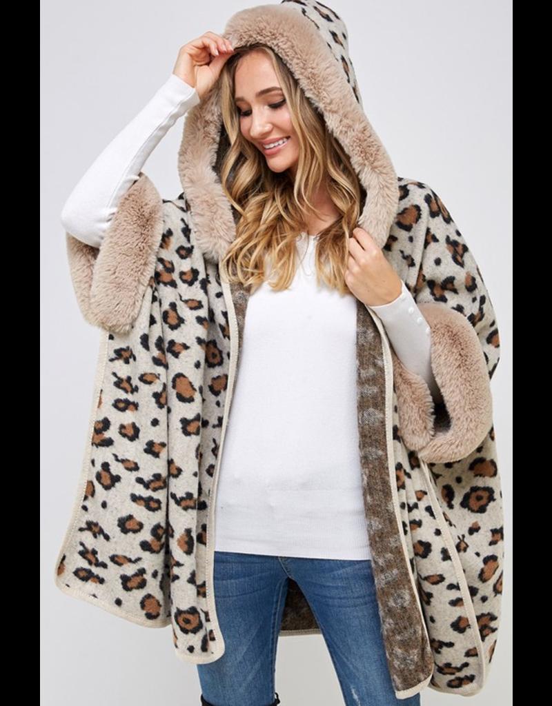 American Fit Leopard print hoodie poncho