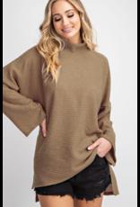 143 STORY Oversized turtule neck rib knit top