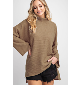 143 STORY Oversized turtule neck rib knit top