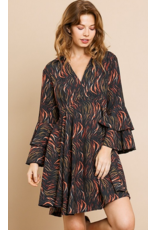 UMGEE Printed ruffle bell sleeve collared v-neck flared dress