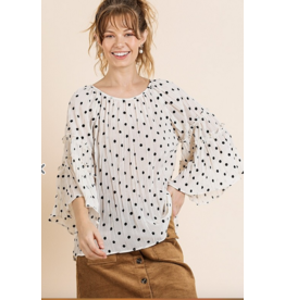 UMGEE Sheer polka dot bell sleeve ruffle detail