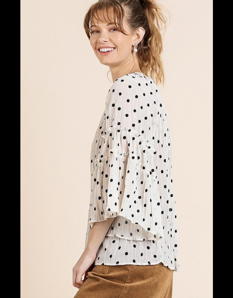 UMGEE Sheer polka dot bell sleeve ruffle detail