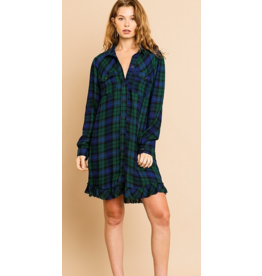 UMGEE Plaid front button collared ruffle scoop hem dress