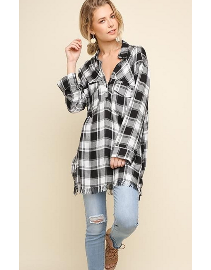 UMGEE Plaid popover tunic with raw hem