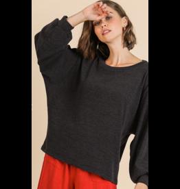UMGEE Long puff sleeve soft knit top