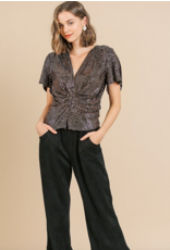 UMGEE bell seleeve v-neck sequin top front gathered detail with slit