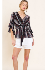 UMGEE Striped ruffle bell sleeve v-neck with center tie and ruffle trim