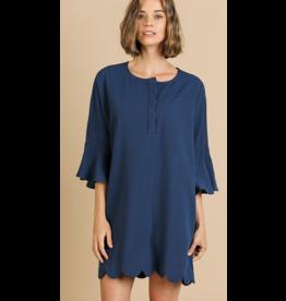 UMGEE Bell sleeve button neck scallop hem dress