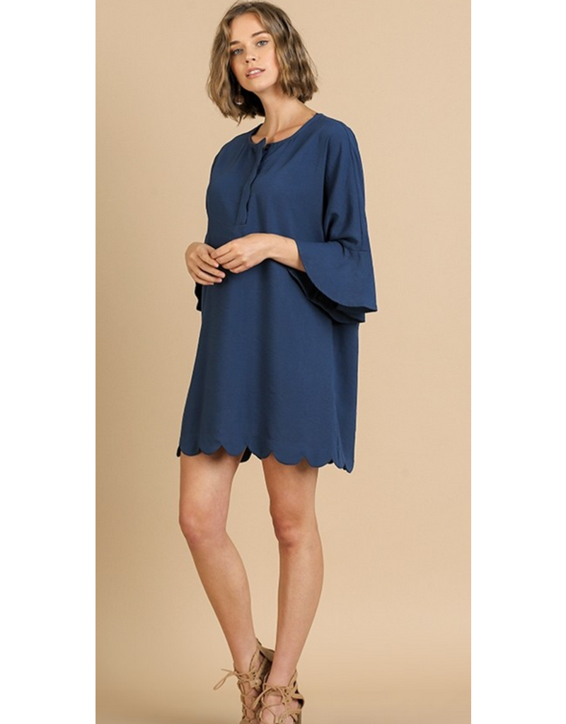 UMGEE Bell sleeve button neck scallop hem dress