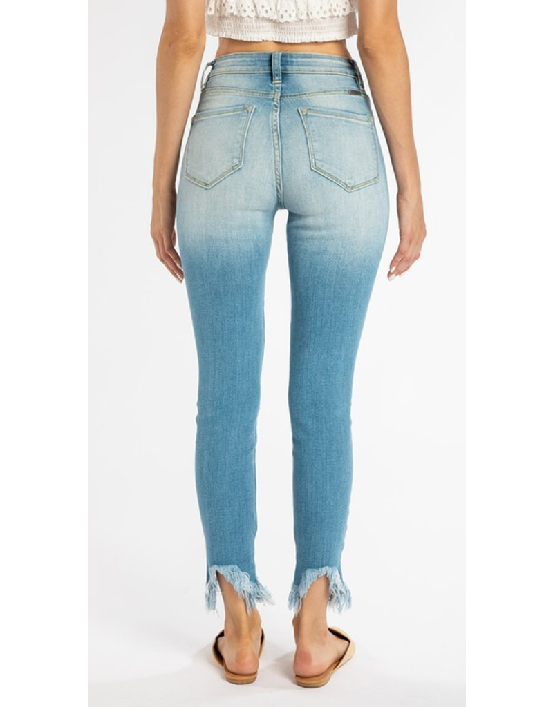 Kancan High rise ankle skinny jean with distressed bottom