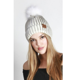 LA Jewelry House Metallic ribbed pom pom beanies