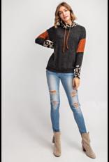 143 STORY Leopard print color block sweater