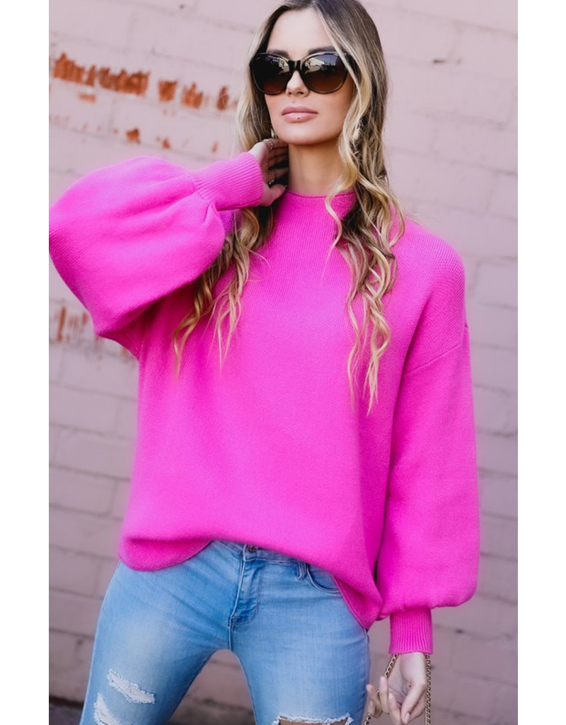 Spotelite Mock neck puff sleeve sweater