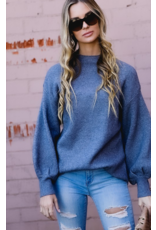 Spotelite Mock neck puff sleeve sweater