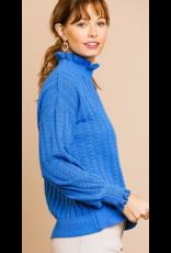 UMGEE High ruffle neck knit sweater