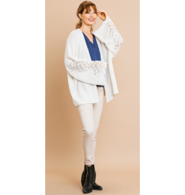 UMGEE Crochet bell sleeve knit cardigan