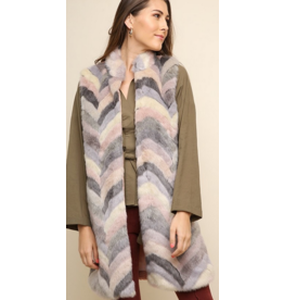 UMGEE Chevron open front furry vest with solid back