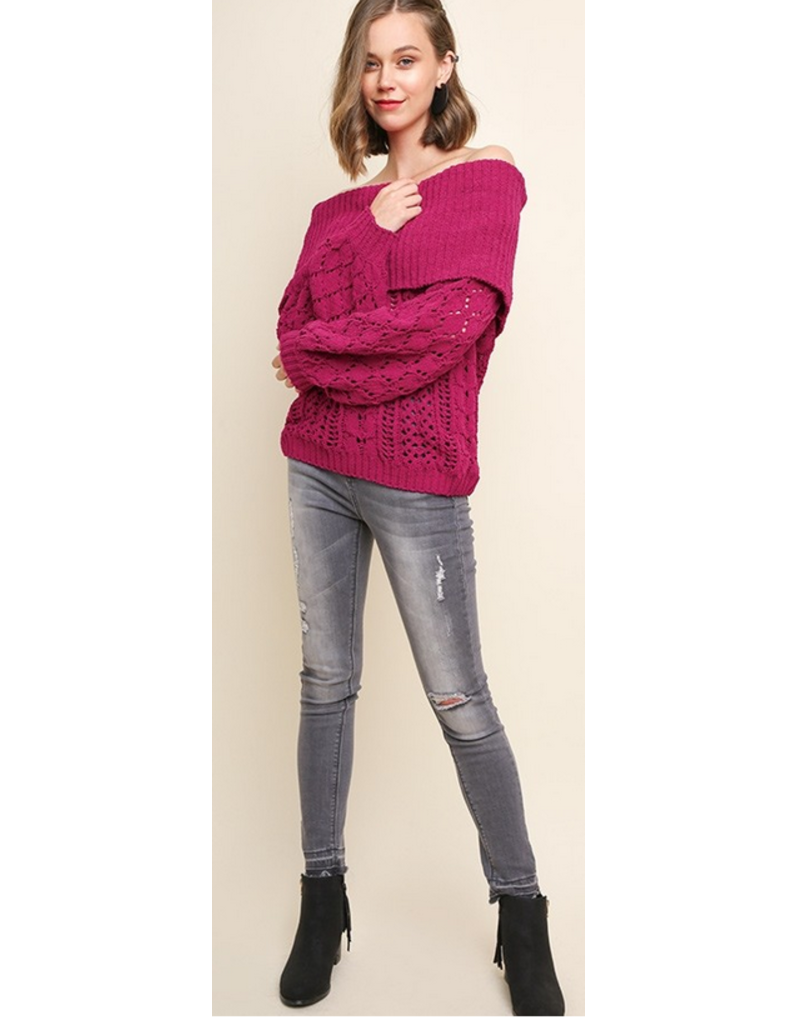 UMGEE Ribbed chenille knit off the shoulder sweater