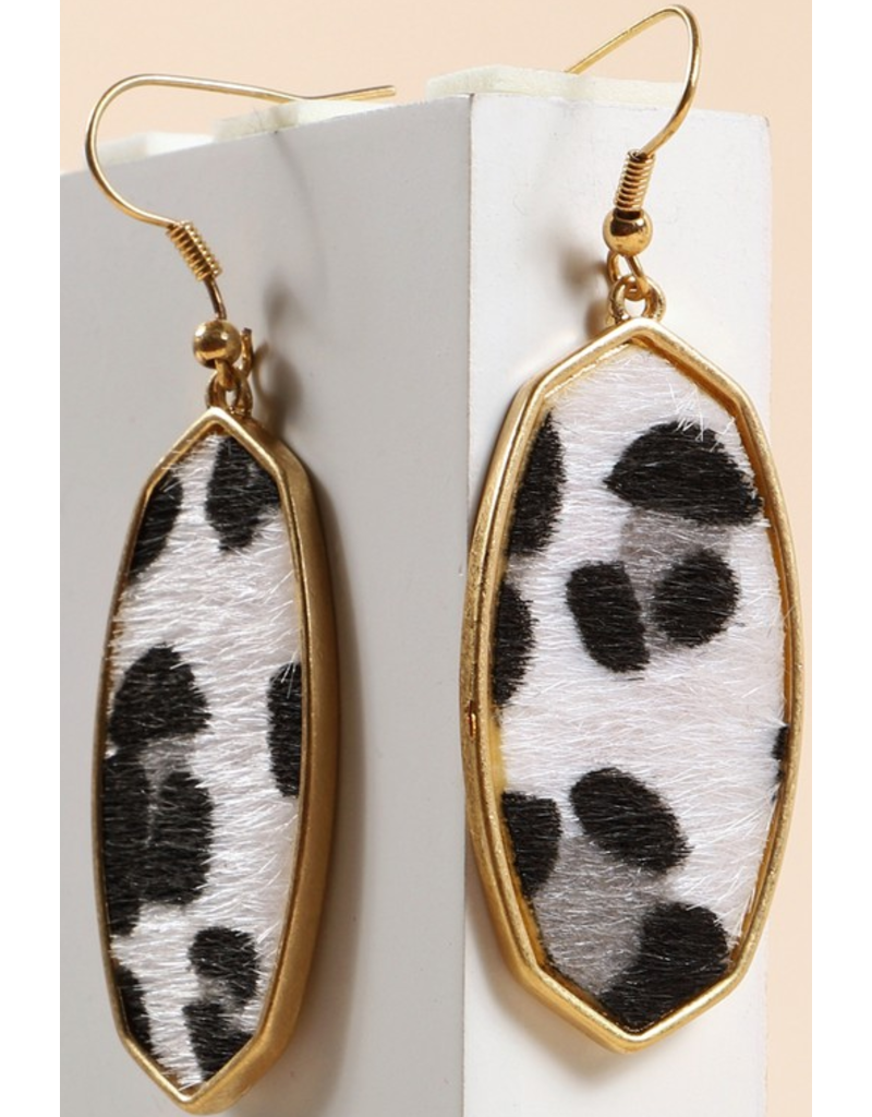 Avenue Zoe Animal print calf hair hexagon earrings