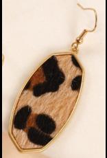 Avenue Zoe Animal print calf hair hexagon earrings