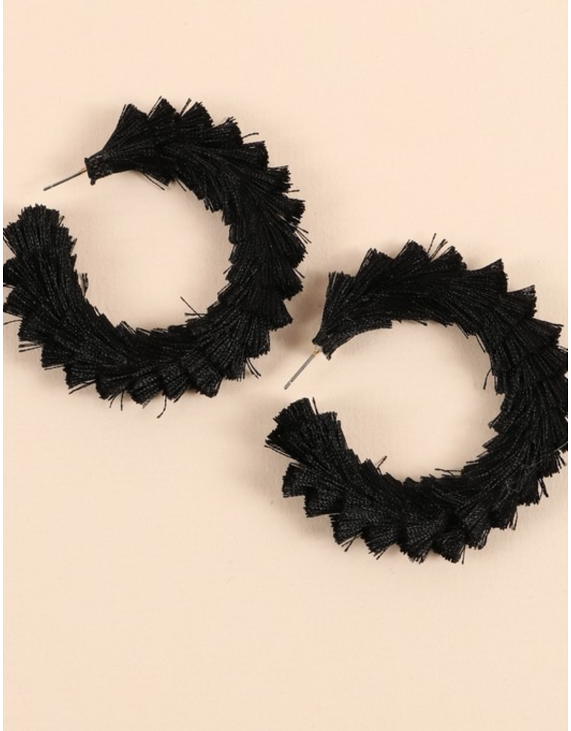 Avenue Zoe Tassel open hoop earrings