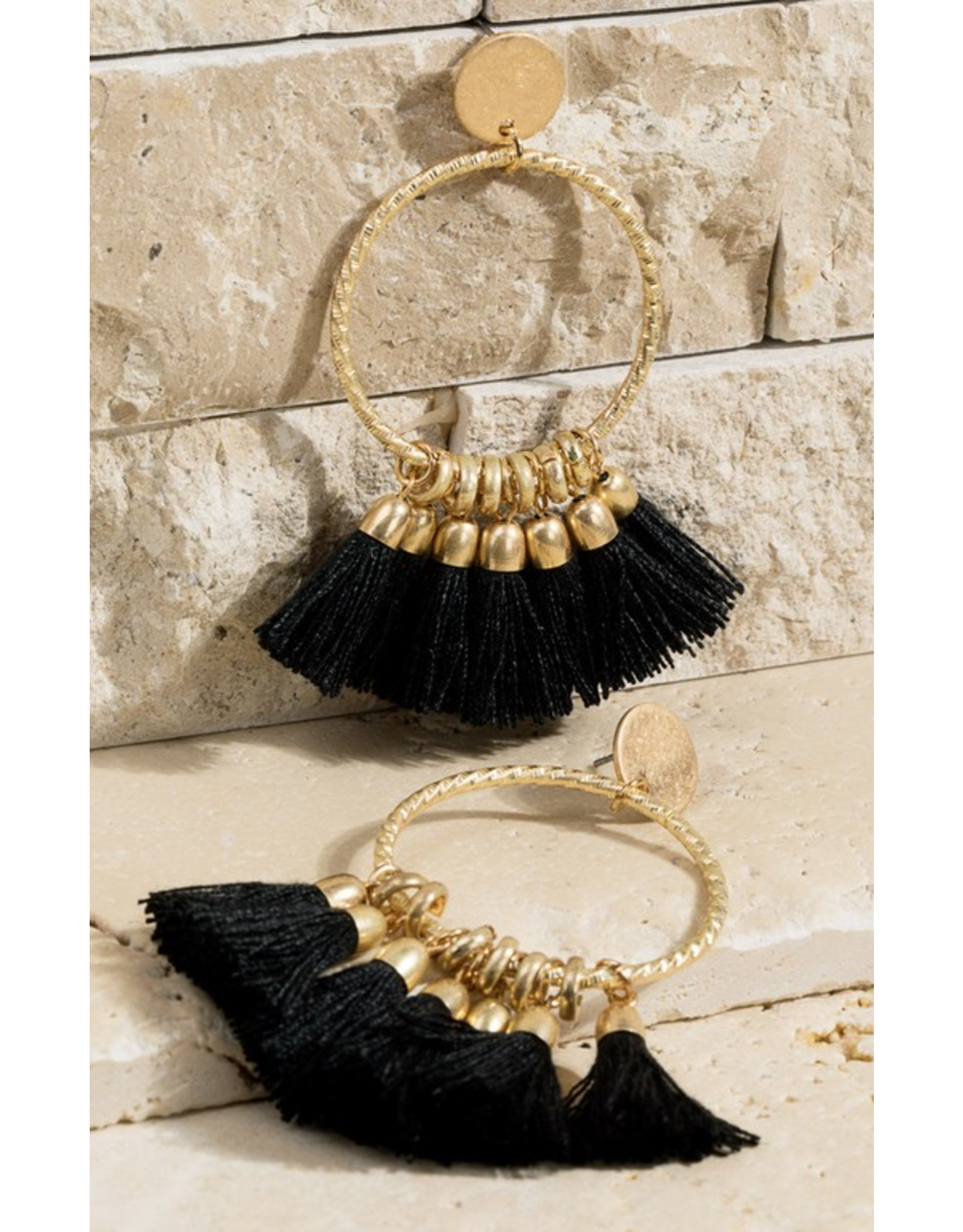 Urbanista Textured Ring Tassel dangle earrings