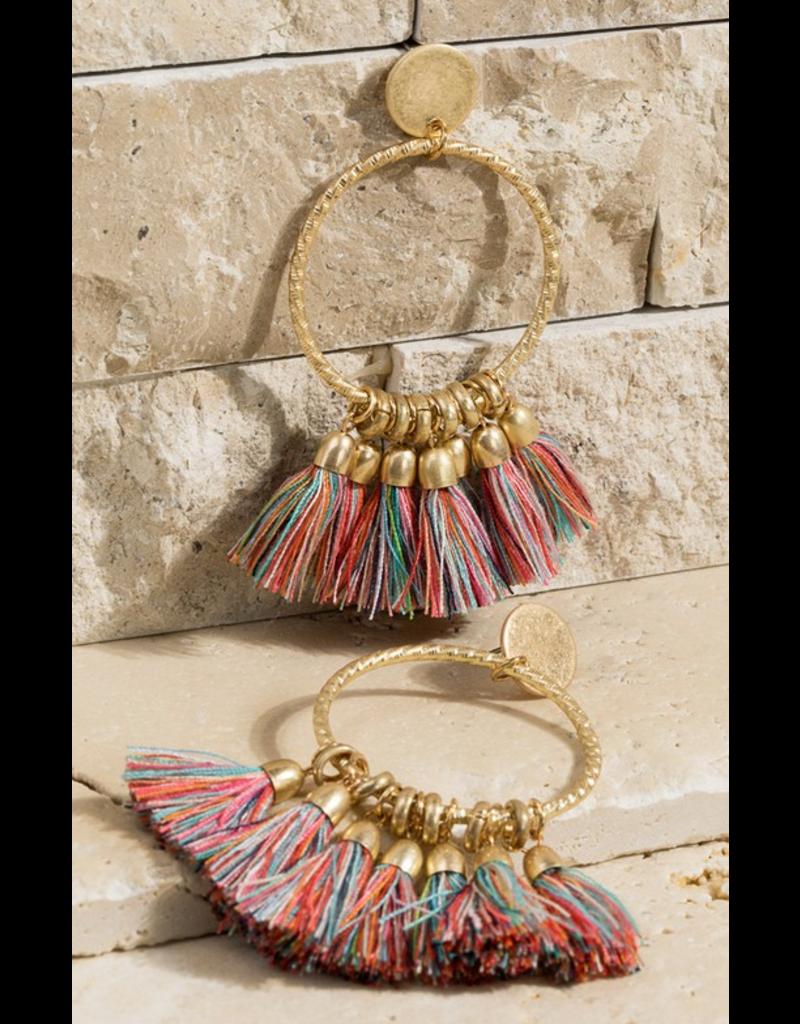 Urbanista Textured Ring Tassel dangle earrings
