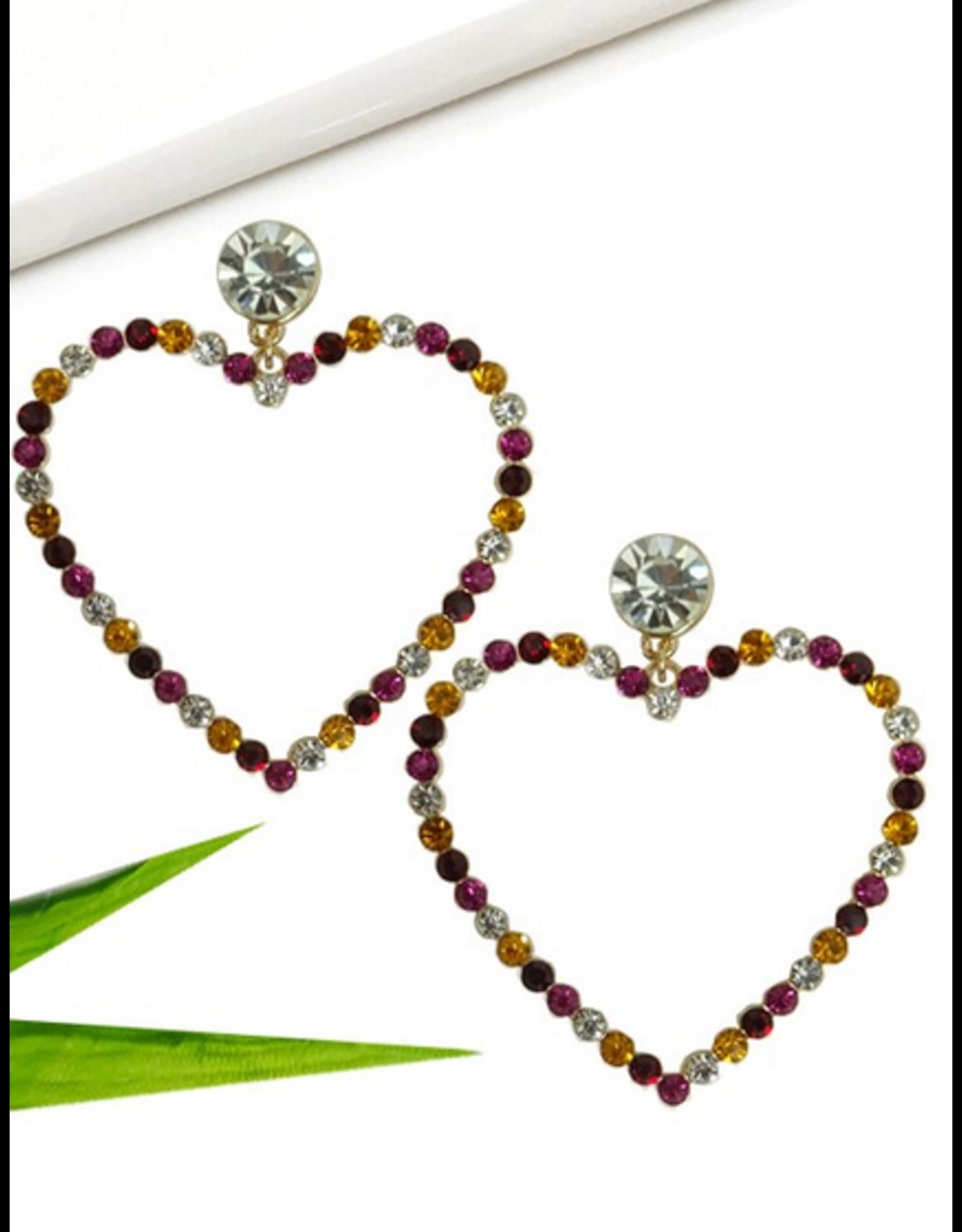 Wall to Wall Drop Heart shaped Rhinestone Earrings