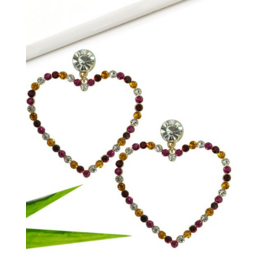 Wall to Wall Drop Heart shaped Rhinestone Earrings