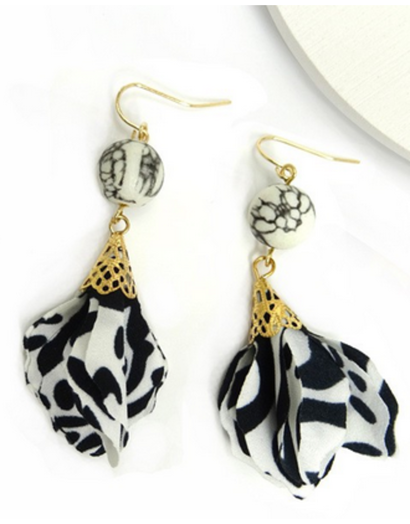 Wall to Wall Marble and fabric earring
