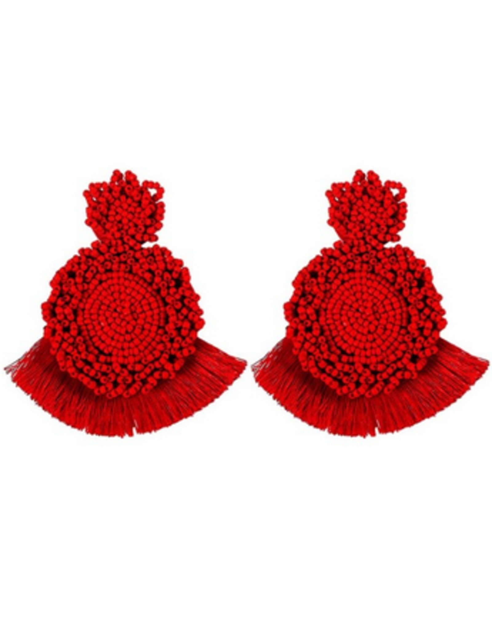 Beautysis Bohemian handmade fringe beaded earrings