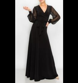 Janette Chiffon Sleeve Maxi Wrap Dress