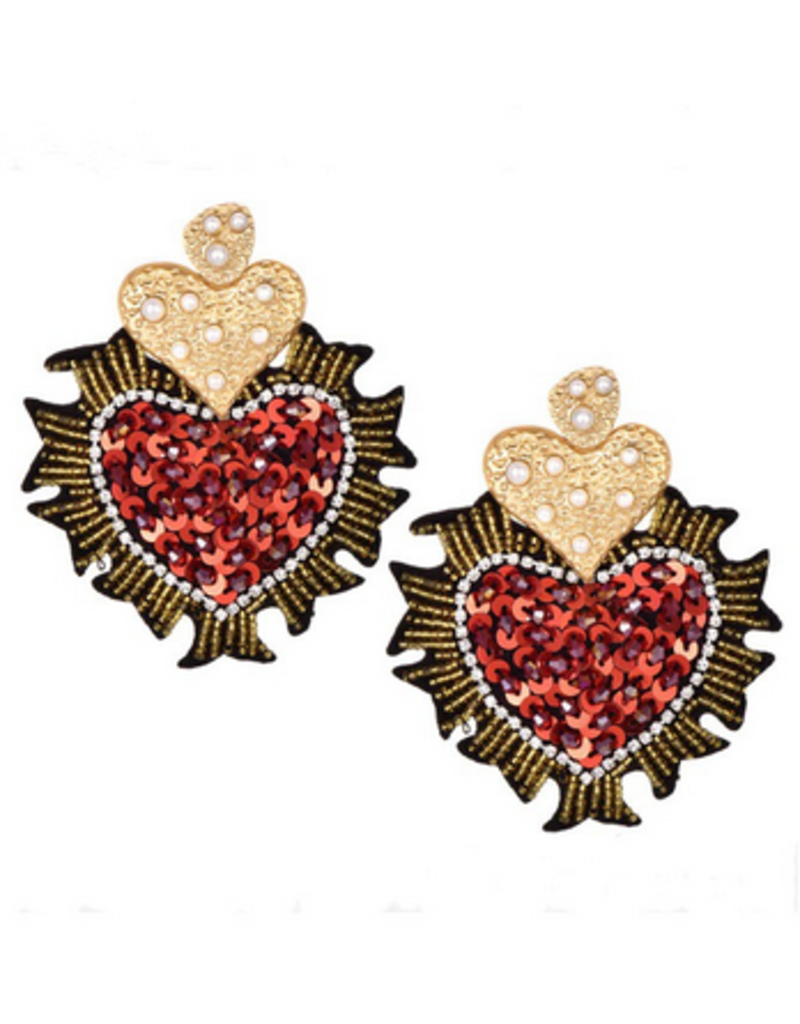 Beautysis Sequin heart earrings