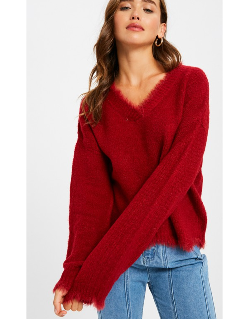 listicle Vneck scallop hem pullover knit sweater