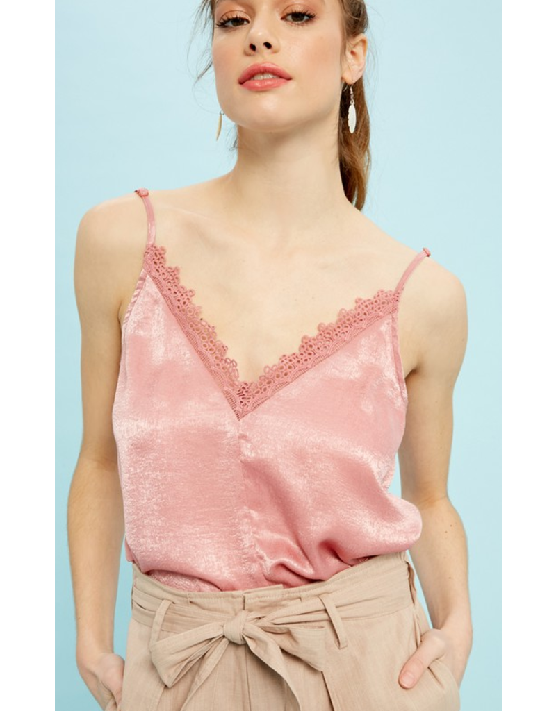 listicle Vneck lace detial satin camisole