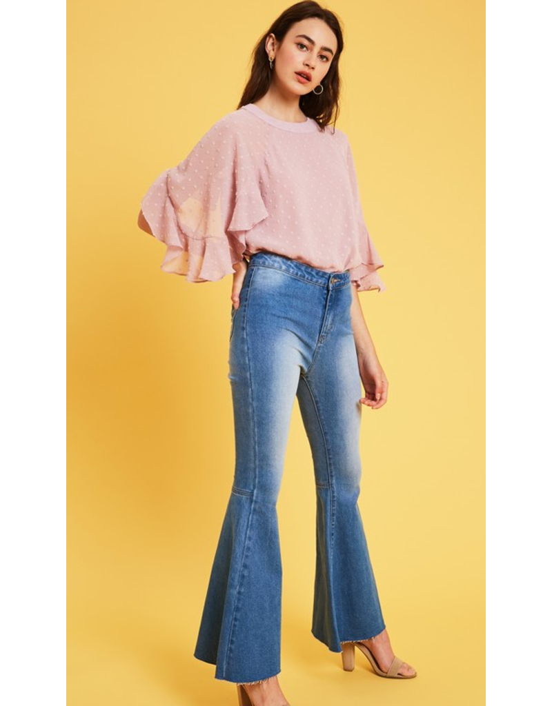 listicle Textured chiffon double bell sleeve top