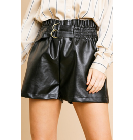 Madison Vegan leather high waist paper bag shorts