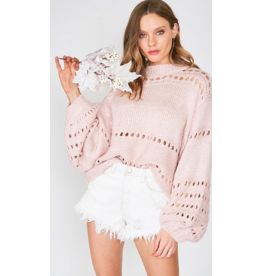 Madison Balloon sleeve open-knit sweater