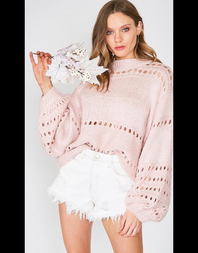 Madison Balloon sleeve open-knit sweater